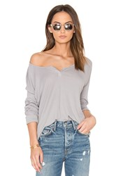 Bobi Pima Modal Rib Long Sleeve Tee Gray