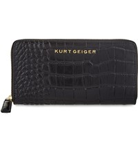 Kurt Geiger Zip Around Crocodile Embossed Leather Wallet Black Croc