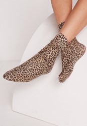 Missguided Leopard Print Ankle Socks Brown Brown