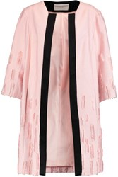 Amanda Wakeley Satin Trimmed Distressed Crepe Coat Baby Pink