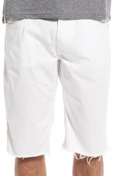 True Religion Men's Brand Jeans 'Ricky' Cutoff Twill Shorts White