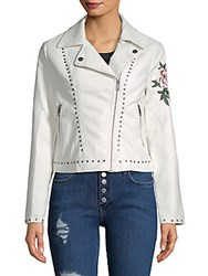 Candc California Studded Embroidered Floral Jacket White