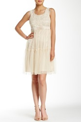Ryu Sleeveless Lace Trim Floral Dress White