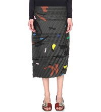 Jil Sander Camo Printed Satin Skirt Open Grey