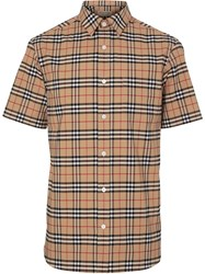 Burberry Short Sleeve Check Stretch Cotton Shirt Neutrals