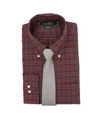 Lauren Ralph Lauren Poplin Checks Classic Pocket Dress Shirt Red Black White Men's Clothing