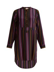 Figue Thalie Stripe Print Silk Shirt Dress Purple Multi