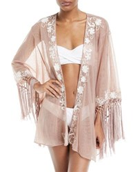 Flora Bella Azmara Open Front Embroidered Mesh Kimono Coverup Pink