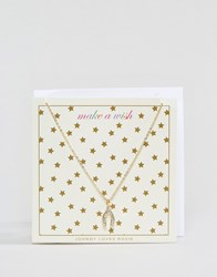 Johnny Loves Rosie Christmas Wishbone Necklace On Gift Card Gold