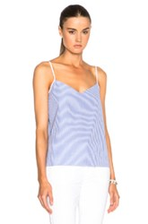 Carven Striped Poplin Tank In Blue Stripes