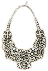 Valentino Silver Tone Crystal And Satin Necklace Silver