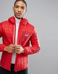 Jack Wolfskin Andean Peaks Square Quilted Jacket In Red 2505 Ruby Red