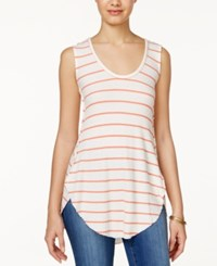 American Rag Striped Waffle Knit High Low Tank Top Only At Macy's Hot Coral