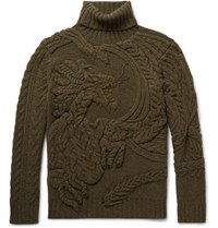 Ralph Lauren Purple Label Cable Knit Wool And Cashmere Blend Rollneck Sweater Army Green