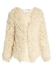 Ryan Roche Open Front Looped Cashmere Cardigan Ivory