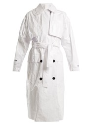 Msgm Tyvek Tie Waist Trench Coat White