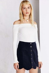 Cooperative Scalloped Button Front Corduroy Mini Skirt Navy