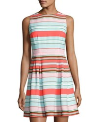 Cynthia Steffe Clairborne Striped Fit And Flare Dress Blue Pattern