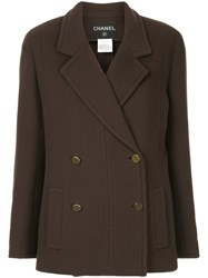 Chanel Vintage Boxy Double Breasted Blazer Brown