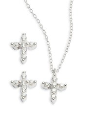 Lord And Taylor Cubic Zirconia Cross Earring Necklace Set Silver