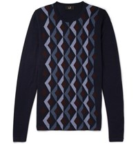 Dunhill Wool And Mulberry Silk Blend Sweater Navy