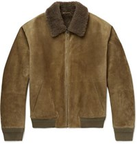 Berluti Shearling Bomber Jacket Army Green