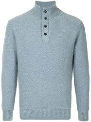 Gieves And Hawkes Ribbed Knit Sweater Blue