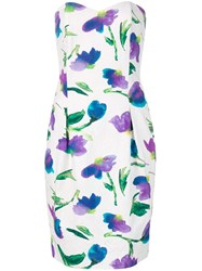 Christian Dior Vintage Strapless Floral Print Dress White