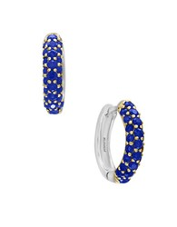 Effy Sapphire And Sterling Silver Hoop Earrings Blue
