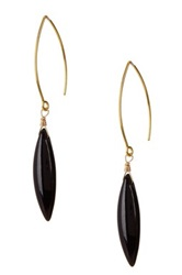 Jami Black Howlite Marquise Fish Hook Earrings