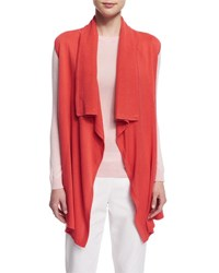 Magaschoni Sleeveless Draped Front Vest Hot Coral