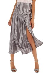 Topshop Women's Ruched Metallic Midi Skirt Silver