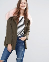 Brave Soul Parka With Contrast Faux Fur Hood Khaki With Pink Fur Green