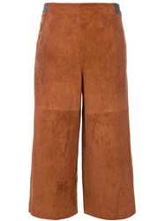 Fabiana Filippi High Waisted Cropped Trousers Women Suede Polyamide Spandex Elastane Polybutylene Terephthalate Pbt 42 Brown