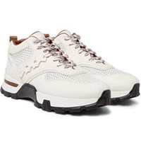 Ermenegildo Zegna Cesare Leather And Mesh Sneakers White