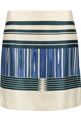 Tory Burch Mikado Printed Silk And Cotton Blend Mini Skirt White