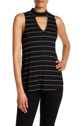 Chenault Striped Sleeveless Mock Neck Shirt Black