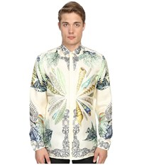 Versace Conch Shell Silk Button Up Print White Men's Long Sleeve Button Up Multi