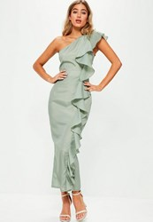 Missguided Green One Shoulder Frill Maxi Dress