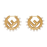 Fendi Gold F Is Pearl Earrings