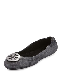 Reva Travel Logo Ballet Flat Black Pewter Tory Burch