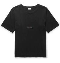 Saint Laurent Slim Fit Printed Cotton Jersey T Shirt Black
