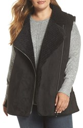 Love Token Plus Size Faux Shearling Vest Black