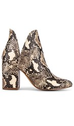 Steve Madden Rookie Bootie In Brown Cream. Beige Snake