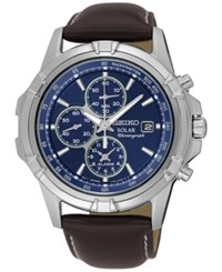 Seiko Men's Solar Chronograph Brown Leather Strap Watch 43Mm Ssc455 No Color