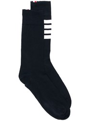 Thom Browne 4 Bar Lightweight Mid Calf Socks Blue