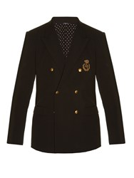 Dolce And Gabbana Crown Embroidered Double Breasted Blazer Black