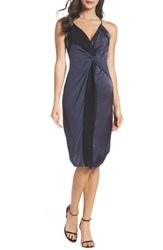 Harlyn Twist Front Cocktail Dress Black Navy