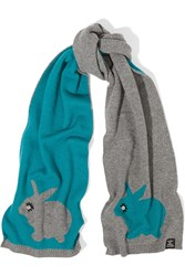 Marc By Marc Jacobs Don't Sweat My Pet Intarsia Merino Wool Scarf Gray