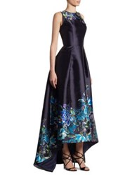 Theia Embroidered Hi Lo Gown Navy Multi